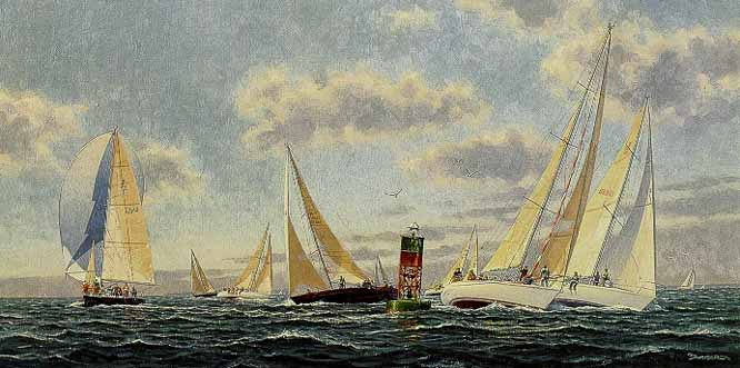 John Barber - Rounding the Windward Mark (Remarqued)