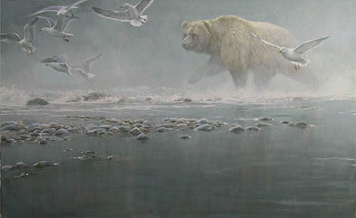 Robert Bateman - Above the Rapids - Gulls and Grizzly