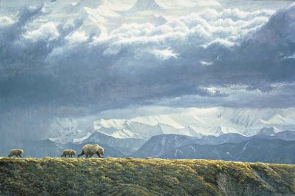Robert Bateman - Along the Ridge - Grizzly Bears