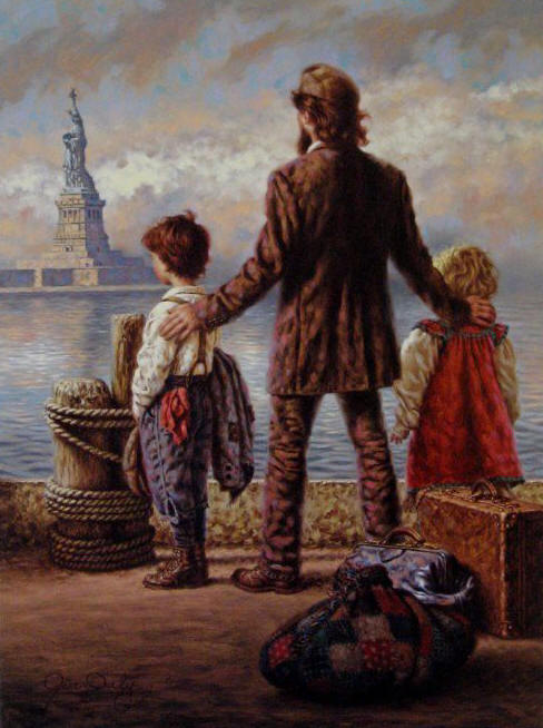 Harley Davidson Motorcycles For Sale >> Jim Daly - A New Beginning - A View from Ellis Island, The Statue of Liberty - ArtUSA.com - Toll ...