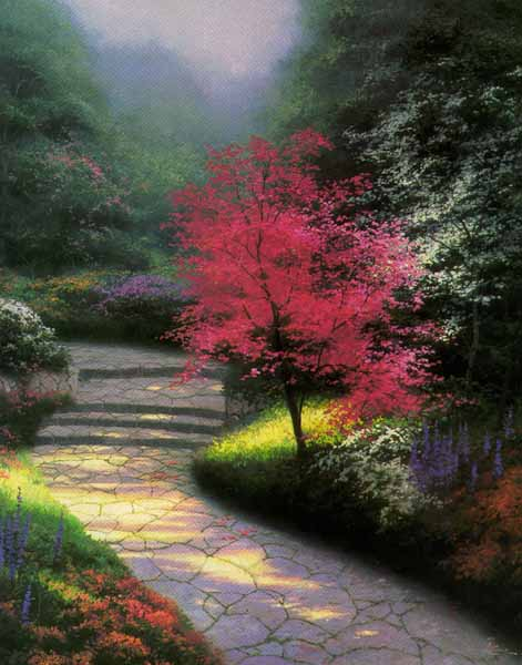 Thomas Kinkade - Afternoon Light, Dogwood (20 x 16 Paper)