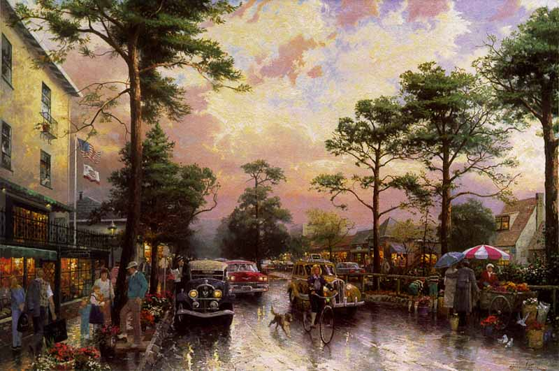 Thomas Kinkade - Carmel, Ocean Avenue on a Rainy Afternoon (18 x 27 Canvas)