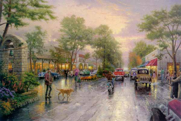 Thomas Kinkade - Carmel, Sunset on Ocean Avenue (18 x 27 Canvas)