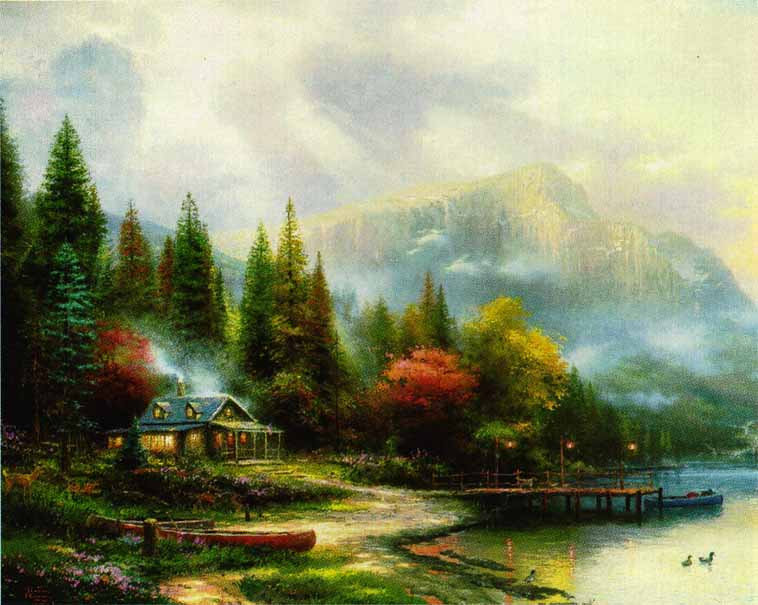 Thomas Kinkade - End of a Perfect Day III (24 x 36 Canvas)