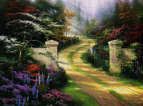 Thomas Kinkade - Spring Gate (25 1/2 x 34 Canvas)