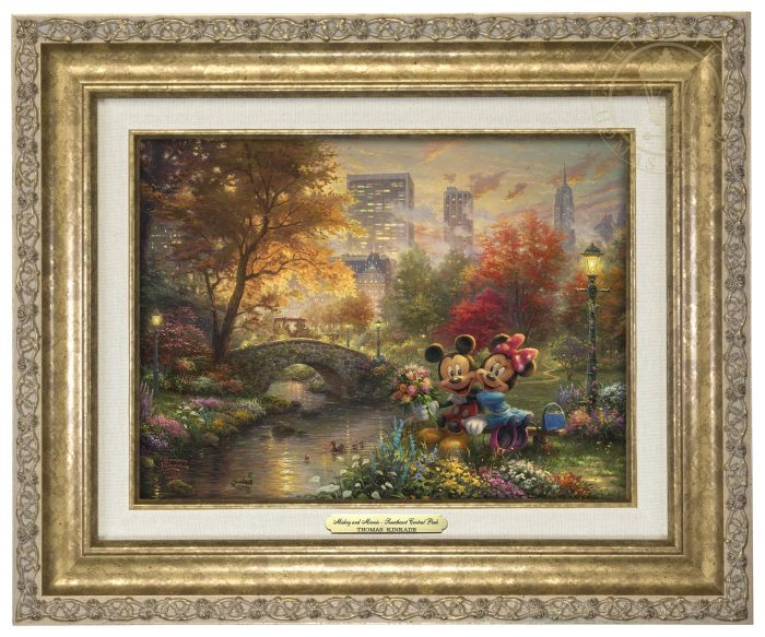 Thomas Kinkade - Mickey and Minnie - Sweetheart Central Park - Classic Edition (Image Size: 9 x 12)
