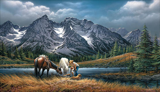 Terry Redlin FOR PURPLE MOUNTAIN MAJESTIES S//N paper Limited Edition Tetons NEW