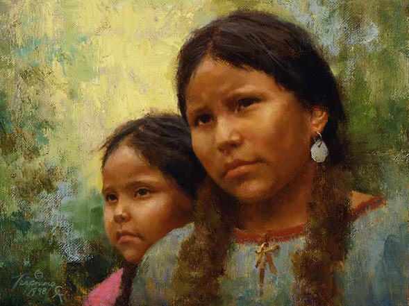 Howard Terpning - Sisters - (Portraits of Our Native American History)