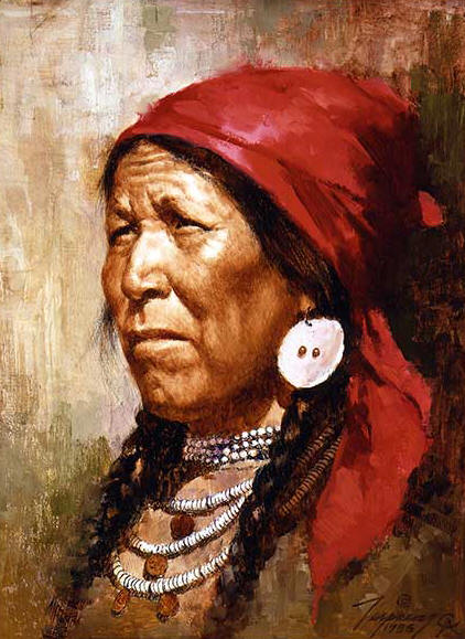 Howard Terpning - Woman with Red Scarf - (Portraits of Our Native American History)