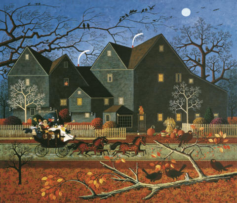 Charles Wysocki - Hellraisers Passing the House of Seven Gables on Halloween Night - Stretched