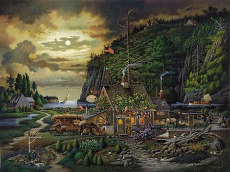 Charles Wysocki - Moonlight and Roses in Olde Maine